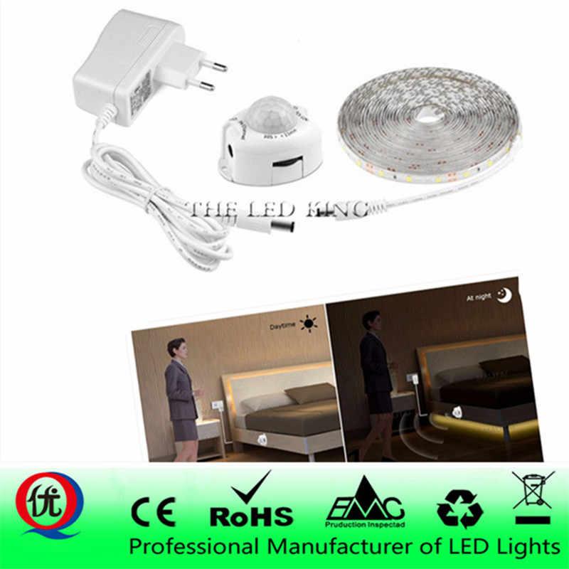 PIR détecteur de mouvement LED bande lumineuse étanche 2835 SMD veilleuse LED Flexible lumière fita tira de led luz bandeau Led chambre