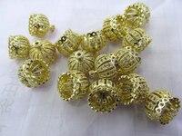 wholesale 50pcs 10 16mm Crown Cap Brass Florial Tassel Caps Finding,Cubuic Zirconia Pave Copper Silve gold Cap connetor