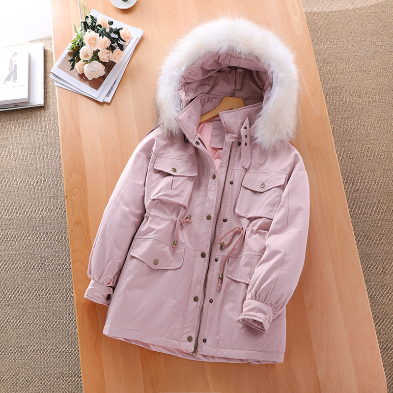 Real Raccoon Fur Collar 2019 Winter Coat Women Long Down Parka With a Hood White Duck Down Jackets Female Thick Women Loose Coat