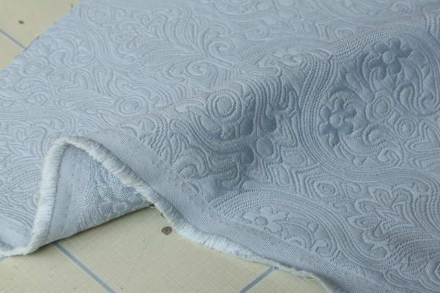 3d Jacquard Vintage Gray Blue Thick Sofa Upholstery Material In