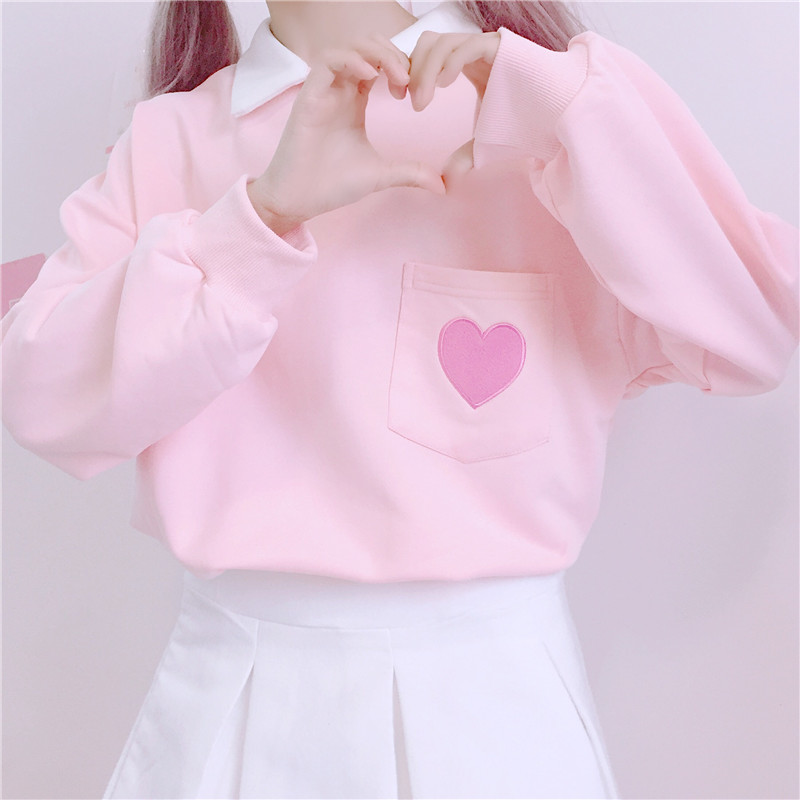 2018 Autumn Women Top New Japanese Loose Pullover Cute Heart Embroidery Pocket Stitching Polp Collar Kawaii Pink Sweatshirt