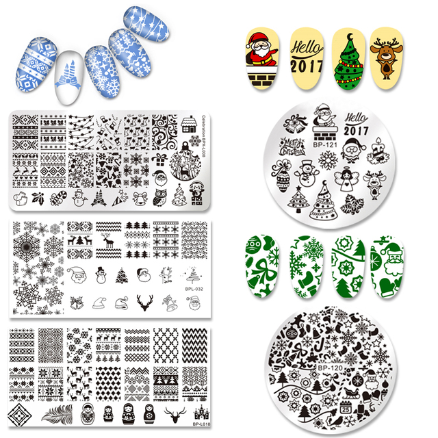 born pretty rectangle round nail art stamp template christmas image