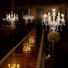 Gold crystal floor light led standing lamp Abajur Paris fashion 6-7 lights Modern wedding Crystal candlestick led floor lamp