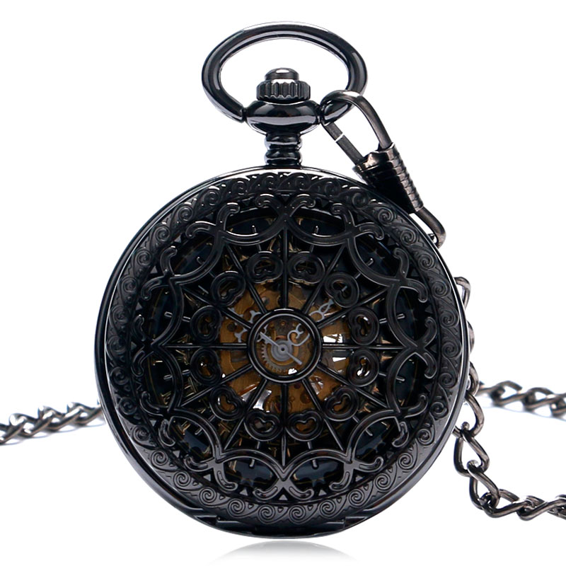 Double Hunter Pocket Watch Mechanical Hand Wind Men Spiderweb Women Pendant Chain Fashion Gift Elegant Wind-up Analog Gift Items wholesale 2016 mechanical hand wind pocket watch with chain cool men watch gift for father day