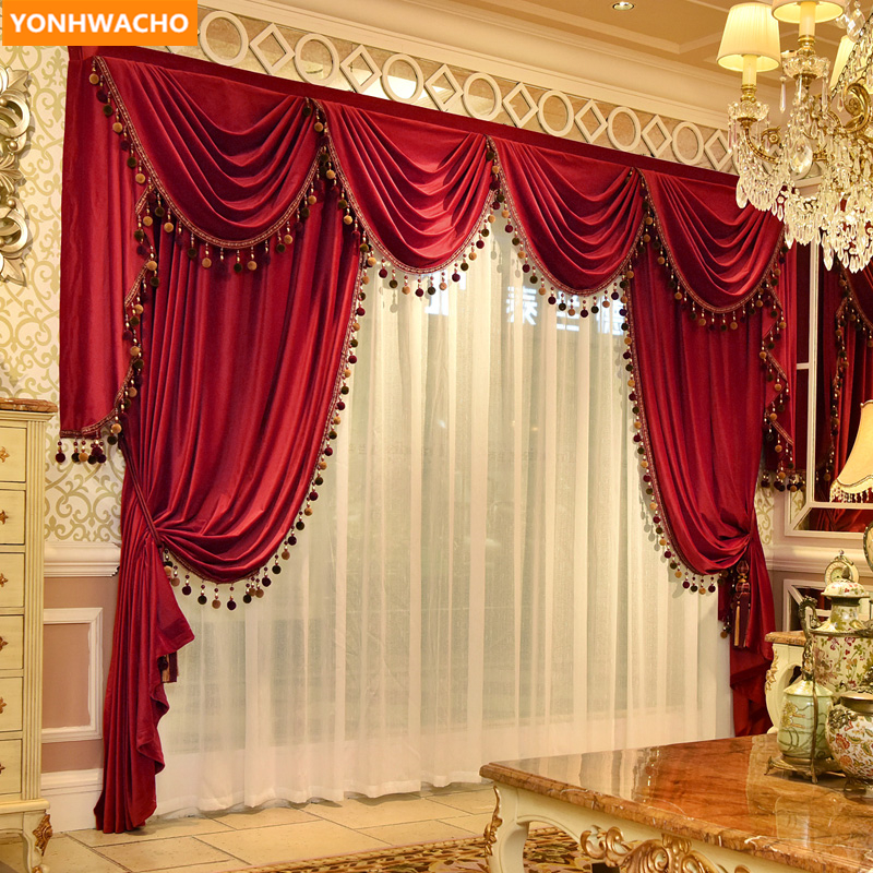 Custom curtains high class European luxury modern red thick France velvet cloth blackout curtain tulle valance drapes N973Custom curtains high class European luxury modern red thick France velvet cloth blackout curtain tulle valance drapes N973