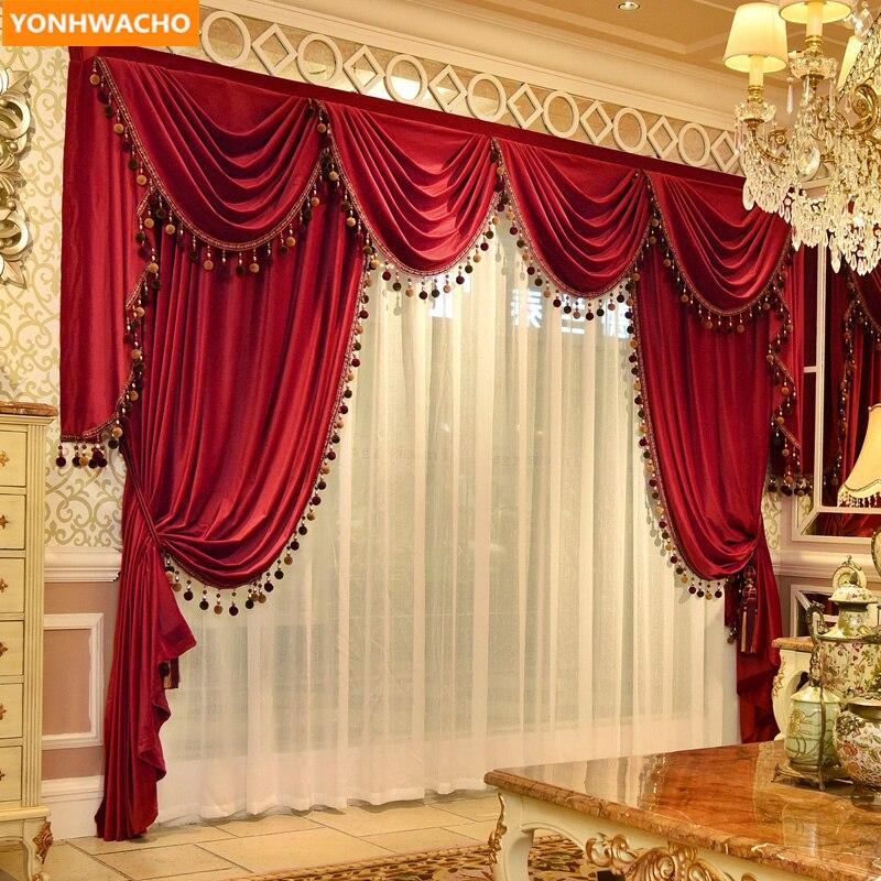 Rideaux sur mesure haut de gamme luxe européen moderne rouge épais France velours tissu occultant rideau tulle cantonnière rideaux N973