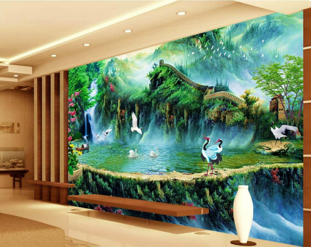 Landscape wallpaper murals the great wall 3d stereoscopic for Wallpaper home murals