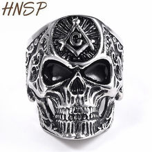 HNSP Punk Masonic Skull Ring For Men Biker stainless steel Jewelry 7-14 Big Size(China)