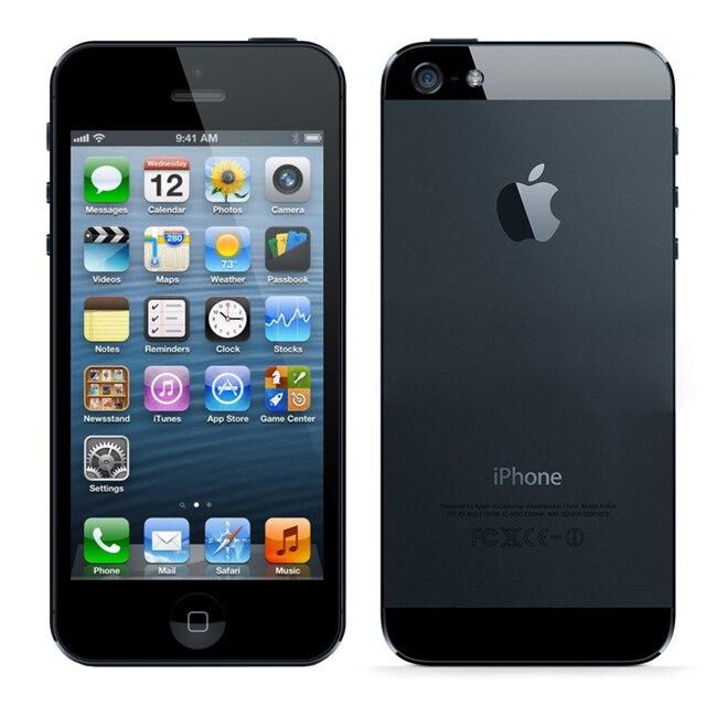 Factory Unlocked Apple IPhone 5 Оригинальный сотовый телефон IOS OS Dual Core 1 г Оперативная память 16 ГБ 32 ГБ 64 ГБ Встроенная память 4.0 дюймов 8MP Камера WI-FI 3 г GPS
