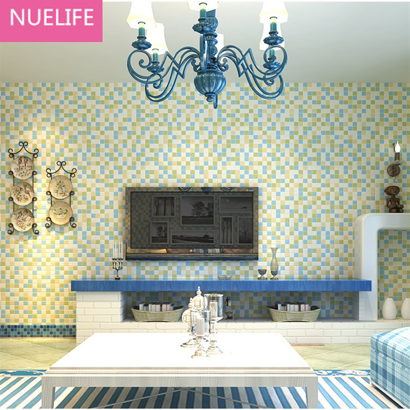 0.53x10 Meter Mosaic 3d squares pattern living room nonwoven fabric wallpaper bedroom living room bedroom television  wallpaper0.53x10 Meter Mosaic 3d squares pattern living room nonwoven fabric wallpaper bedroom living room bedroom television  wallpaper