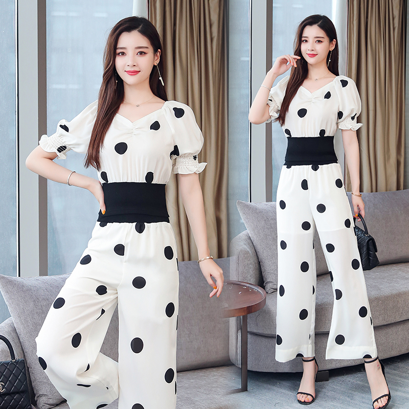 Summer Dot Print Two Piece Sets Outfits Women Plus V-neck Short Tunics Tops And Wide Leg Pants Suits Elegant Ladies 2 Piece Sets 30