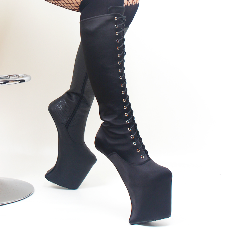 Image 5 - Heelless Platform boots Women Knee High Sexy Shoes Extreme high 8 inch heel Fetish Horse Ponying Stallion Hoof Sole boots-in Knee-High Boots from Shoes