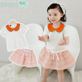 New Summer Clothes for Kids Girls 2PCs Cute Peter Pan Watermelon Collar Little Girls Summer Outfit Skirt Free Shipping