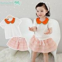New Summer Clothes for Kids Girls 2PCs Cute Peter Pan Watermelon Collar Little Girls Summer Outfit Skirt Free Shipping