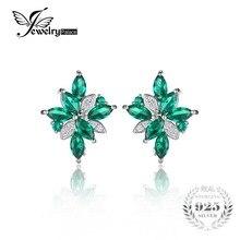 JewelryPalace Flor Forma 2.5ct Esmeralda Verde Creado Nano Ruso Clip En Los Pendientes de Plata de Ley 925 para Las Mujeres Joyería Fina