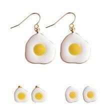 Cute Sweet Cartoon Enamel Glaze Food Omelette Purse Egg Stud Earrings Women Funny Fashion Chicken Jewelry Accessories