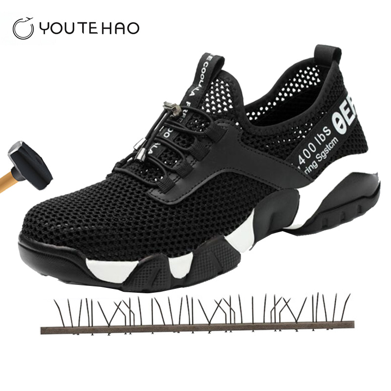 Breathable Safety Shoes For Men And Women Thin Summer Anti-mite Perforation Work Sandals Single Mesh Sneakers