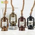 Старинный керосин подвесной светильник с бесплатной лампой E27 пеньковая веревка Подвесная лампа для дома/спальни/гостиной промышленные по...