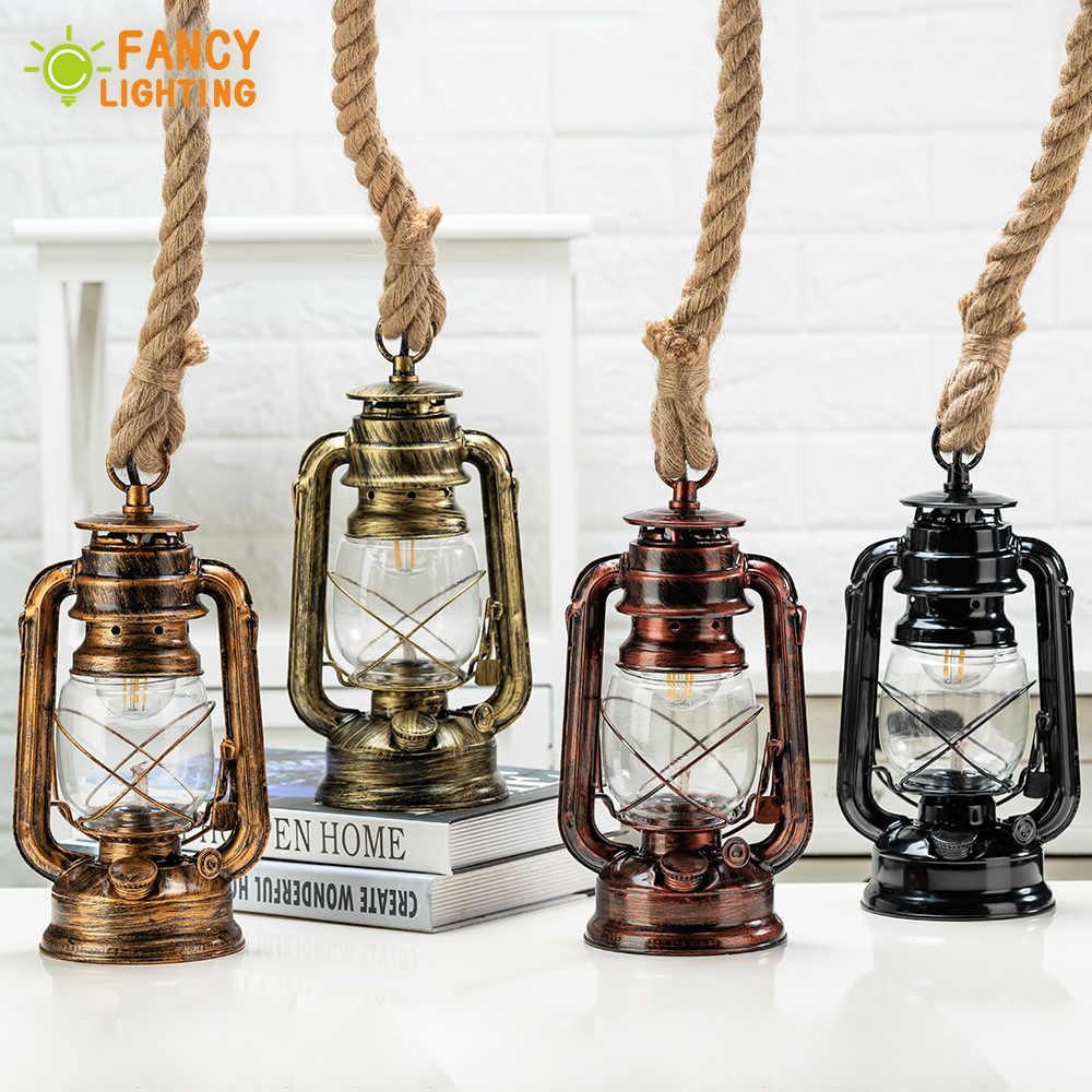Старинный керосин подвесной светильник с бесплатной лампой E27 пеньковая веревка Подвесная лампа для дома/спальни/гостиной промышленные подвесные светильники