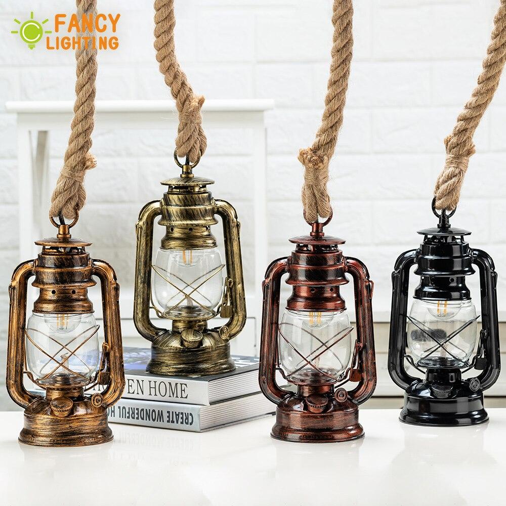 Vintage Gazyağı Kolye Lamba Ücretsiz Ampul E27 Kenevir Halat Asılı Lamba Ev/Yatak Odası/Oturma odası Endüstriyel kolye Işıkları