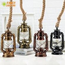 Lámpara colgante de queroseno Vintage con bombilla libre E27 cuerda de cáñamo lámpara colgante para el hogar/dormitorio/sala de estar Industrial colgante luces