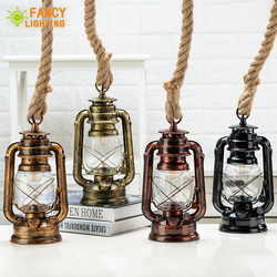 Vintage Kerosene Pendant Lights With Free Bulb E27 Hemp Rope Hanging Lamp for Home/Bedroom/Livingroom Decor Industrial/Loft Lamp