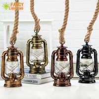 Vintage Kerosin Anhänger Lampe Mit Freie Birne E27 Hanf Seil Hängen Lampe für Home/Schlafzimmer/wohnzimmer Industrie anhänger Lichter