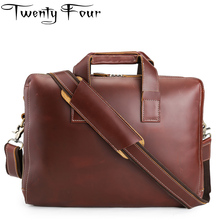 Twenty-four New Fashion Real Leather Men Bag Famous Brand Shoulder Bag Messenger Bags Causal Handbag Solid Laptop Briefcase Male
