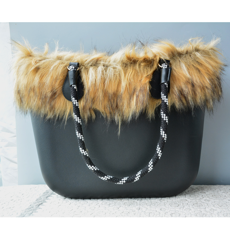 Black Silicone Bag Women Bucket bags Classic Tote Faux Fur Winter Warm 42CM Handbag Rope Handle