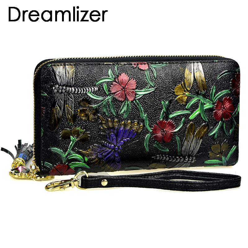 Animals Printing Pattern Genuine Leather Women Wallets Lady Coin Purse Long Wallet Fashion Tassel Female Women Clutch Purse(China)