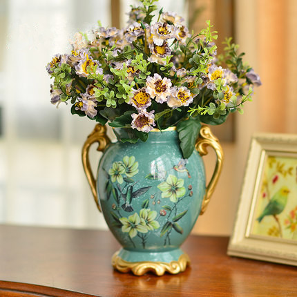 Oil Painting Ceramic Vase With Handle Ornaments Retro Pastoral