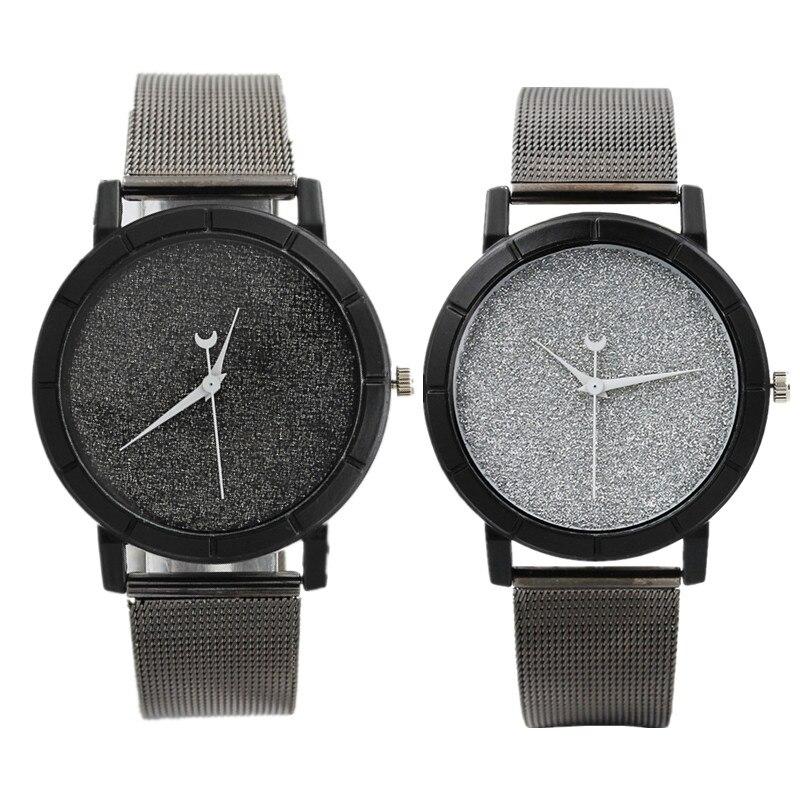 Creative Watches Women Men Quartz Watch 2018 New Design Unisex Watch Black Steel & Leather Wristwatches Clock Relogio Masculino