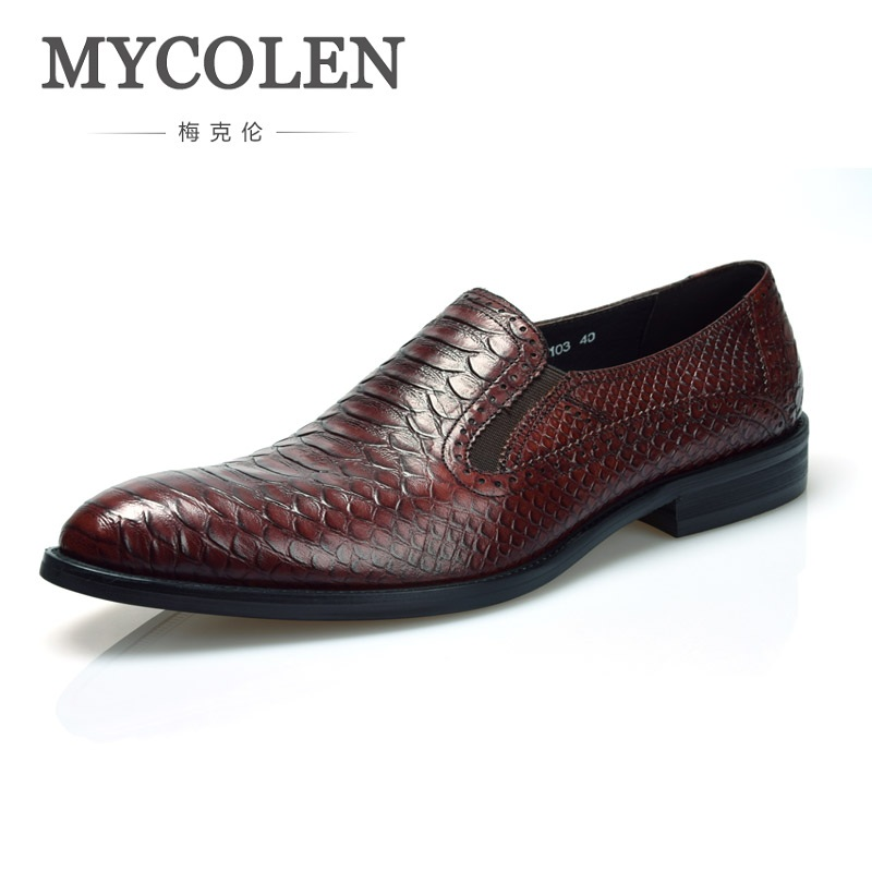 MYCOLEN New High Grade Leather Alligator Shoes Handsome Business Men Formal Shoes Comfortable Brand Men Wedding Shoes