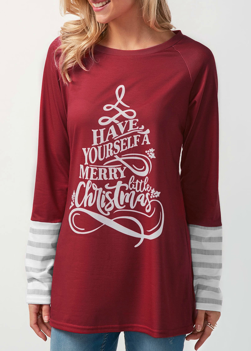 Hot Sale 2018 new arrivals christmas letter printed round neck long ...