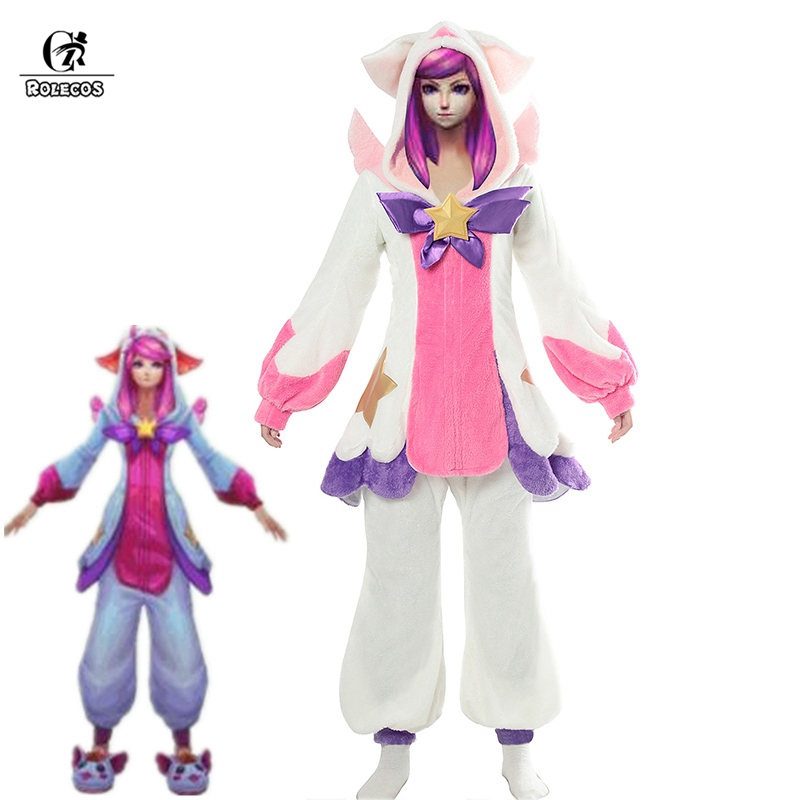 ROLECOS LOL Lux Cosplay Costume Pajama Star Guardian LOL Cosplay Costume Lux Pajama for Women Winter