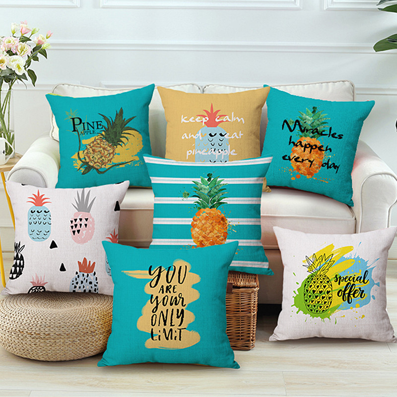 Pineapple Pillow Cover Tropical Leaves Linen Cotton Cushion Cover Decorative Throw Pillow case Home Decor Pillowsham 45x45cm