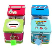 1PC Portable Cute Square Tin Metal Piggy Bank Saving Cash Coin Money Box Children Toy Kids Gifts Home Collection LG 004