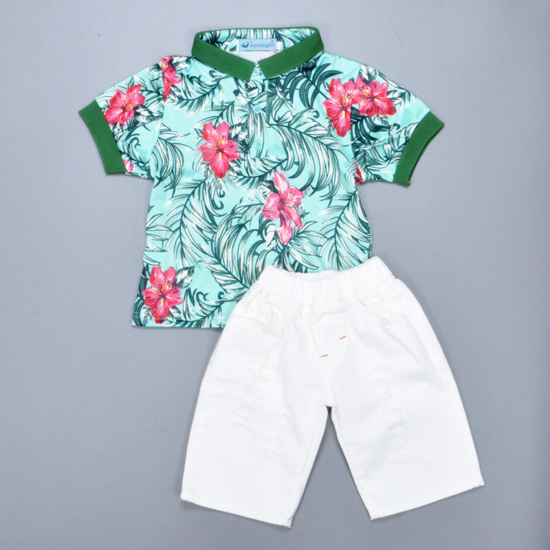 2016 new kids clothing set baby boy clothing set flower printed T-shirt + white pant children set for baby girl boy clothes 2-6T infant clothes set baby boy clothes white long sleeve shirt gray vest pant 2pcs set new born baby boy clothing set baby suits