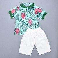 2016 New Kids Clothing Set Baby Boy Clothing Set Flower Printed T Shirt White Pant Children