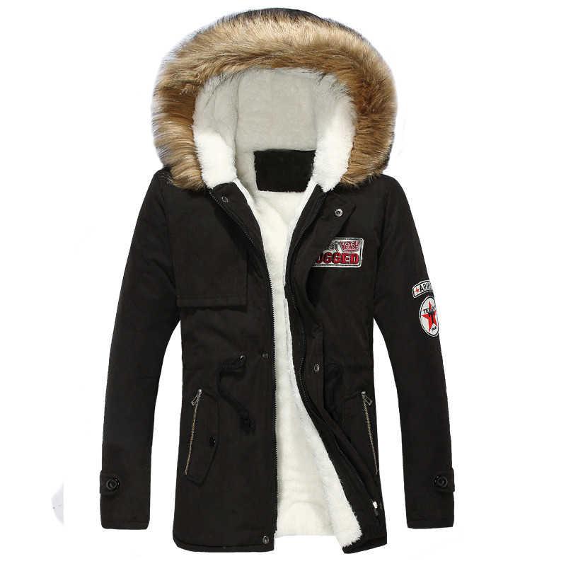 החורף ארוך Parka גברים סתיו עבה חם של גברים למטה מעיל ברדס צמר מותג Windproof להאריך ימים יותר מעיל זכר חדש נים מעילים
