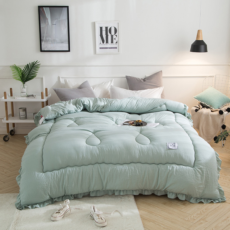 Winter comforter Freshness style thicken duvet 100% Washed cotton soft quilts 200*230cm bea green home bedding winter blankets