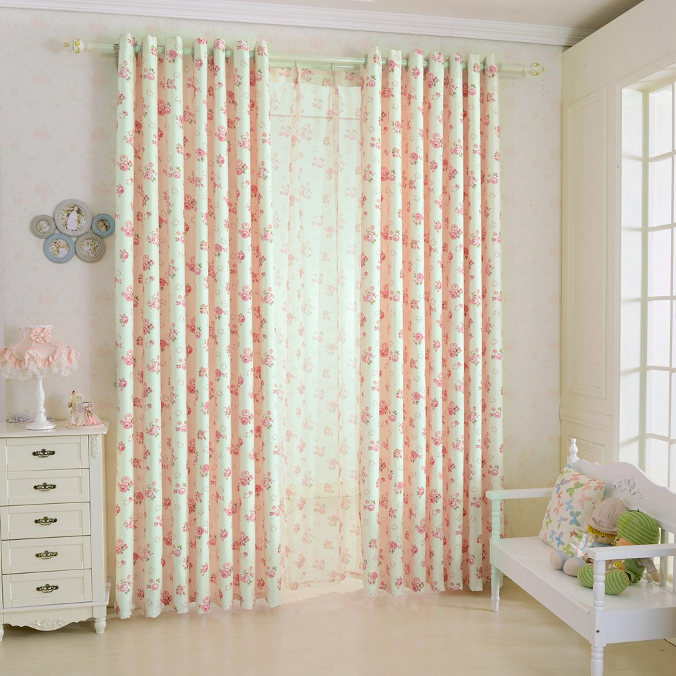 Lozujoju short window curtains for bedroom window drapery floral design rustic blackout curtains tulle curtains girls bedroom in curtains from home