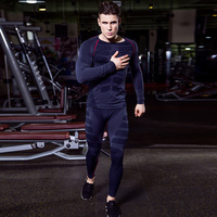 YD New Compression Tight Basket Soccer Tracksuit Men Training Fitness Long Sleeve Shirt Pants Male Gym