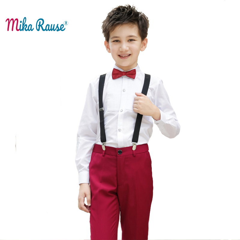 Fashion kids boys clothes sets white shirt red pants toddler baby boy clothes children student costume party dresses uniform одежда на маленьких мальчиков