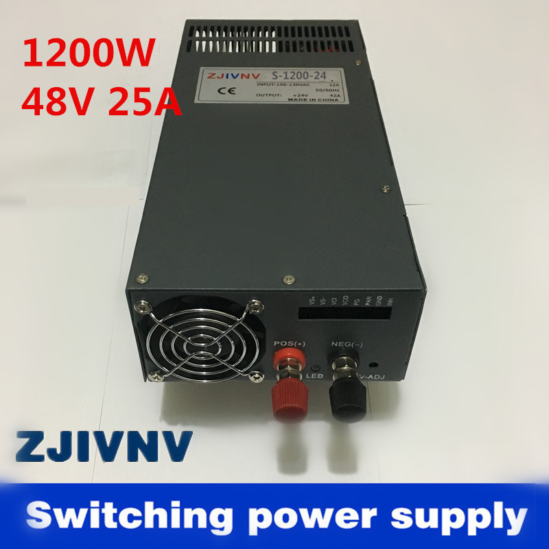 New! high quality 1200W 48V 25A adjustable 220v INPUT Single Output Switching power supply for LED Strip light AC to DC smps