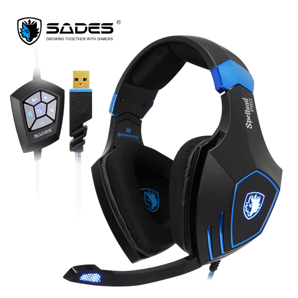 SADES Spellond Pro Bongiovi Acoustics USB Gaming Headset Headphones Deep Bass Vibration For PC sades sa 902 usb 2 0 game headphones w microphone volume control black red 300cm cable