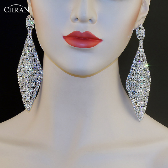 Chran fashion exaggerated unique design silver plated square chran fashion exaggerated unique design silver plated square rhinestone chandelier dangle crystal long earrings for women aloadofball Images