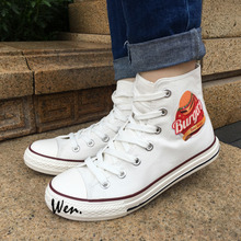 Wen 2017 New Arrival Canvas Shoes Design Hamburger Men Women's High Top White Sneakers Christmas Birthday Gifts