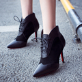 Women's Sexy Red Bottom High Heel Pointed Toe Ankle Boots Brand Designer Patchwork Lace-up Short Booties Female Footwear Shoes