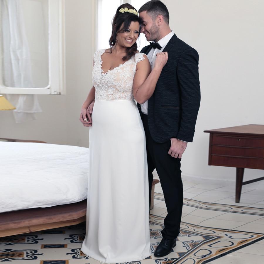 Eightale Sexy Mermaid Wedding Dresses 2019 V Neck Lace Top Turkey Appliques Boho Bridal Dress Beach Wedding Gown Free Shipping